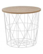 Okrągły stolik kawowy Rista - naturalny + biały