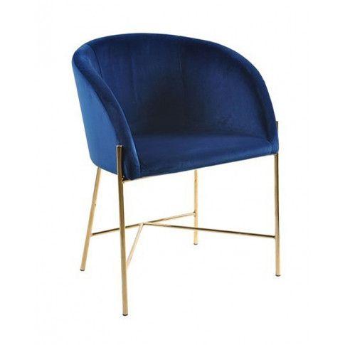Zdjęcie produktu Tapicerowany fotel welurowy Ismen - niebieski.