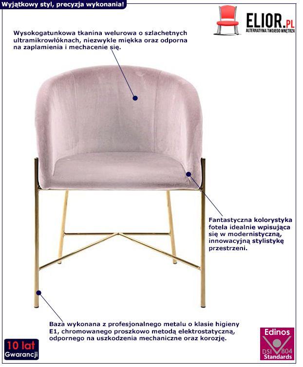Miękki fotel Ismen - różowy