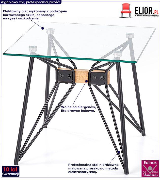Kwadratowa ława szklana do salonu Westa 3X