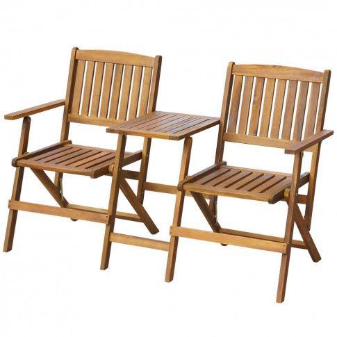 Zdjęcie produktu Drewniana ławka ogrodowa Lango - brązowa.