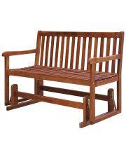 Drewniana ławka ogrodowa z huśtawką Leos - brązowa
