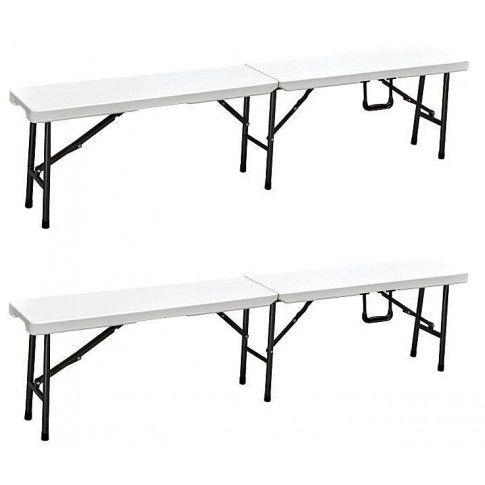 Zdjęcie produktu Zestaw 2 ławek rozkładanych Nino - biały.