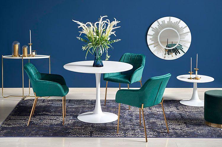 Pikowane krzesło do stołu, biurka zielone Ansel
