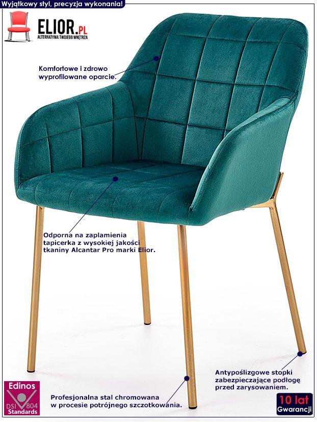 Zielone krzesło pikowane do jadalni, salonu Ansel