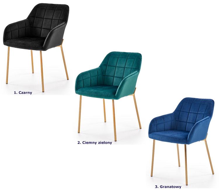 Tapicerowane złote krzesło w stylu glamour Ansel