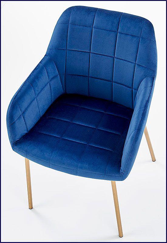 Granatowe krzesło tapicerowane Ansel