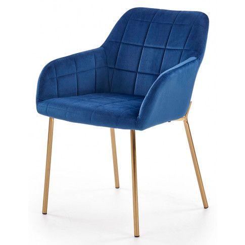 Zdjęcie produktu Tapicerowane krzesło pikowane Ansel - granatowe.