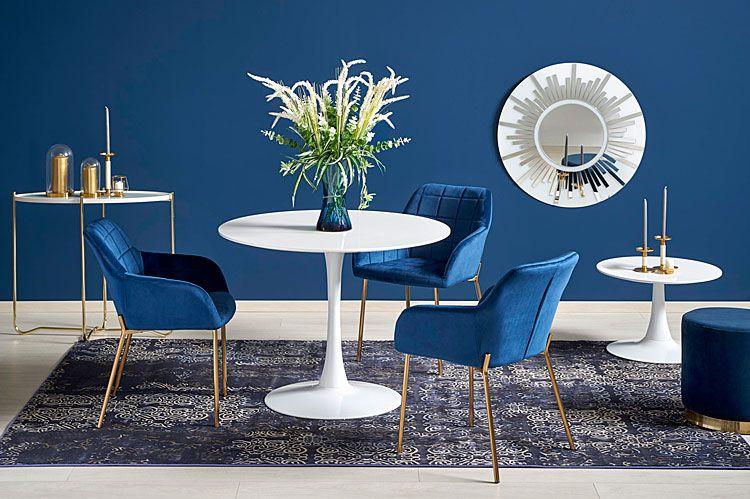 Niebieskie krzesło w stylu glamour Ansel