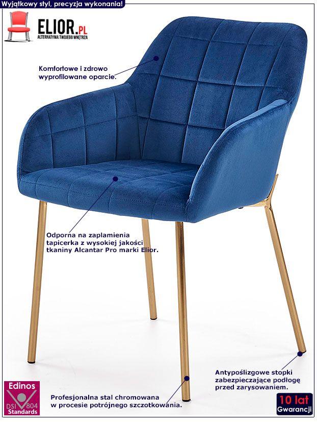 Granatowe krzesło pikowane ze złotymi nogami Ansel