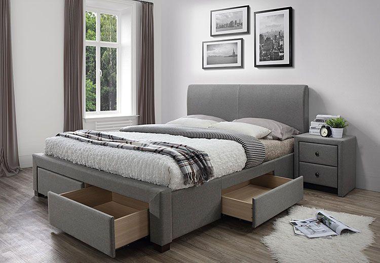 Tapicerowane szare łóżko z szufladami 160x200 Moris