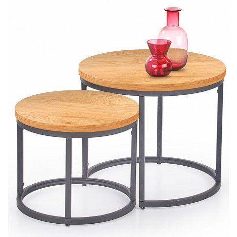 Zdjęcie produktu Zestaw dwóch stolików w stylu loft - Endi - dąb złoty.
