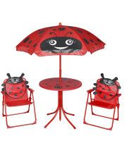 Zestaw mebli ogrodowych dla dzieci Lummo - czerwony