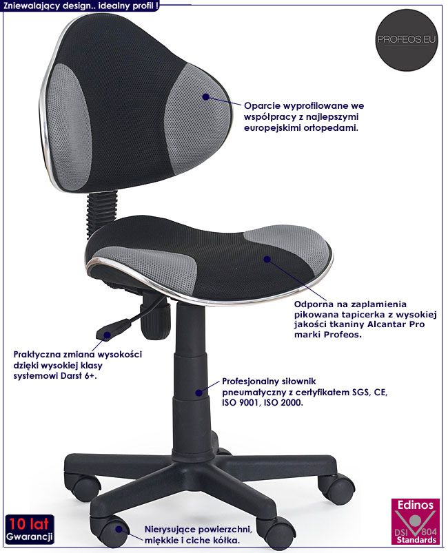 Młodzieżowy fotel do komputera Liber