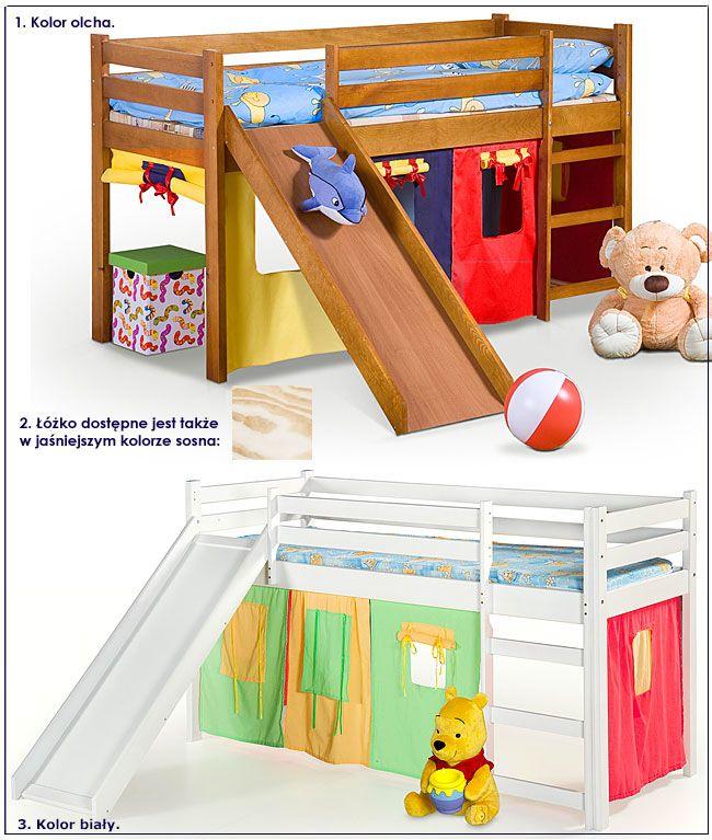 Piętrowe łóżko dla dziecka ze zjeżdżalnią Flaser
