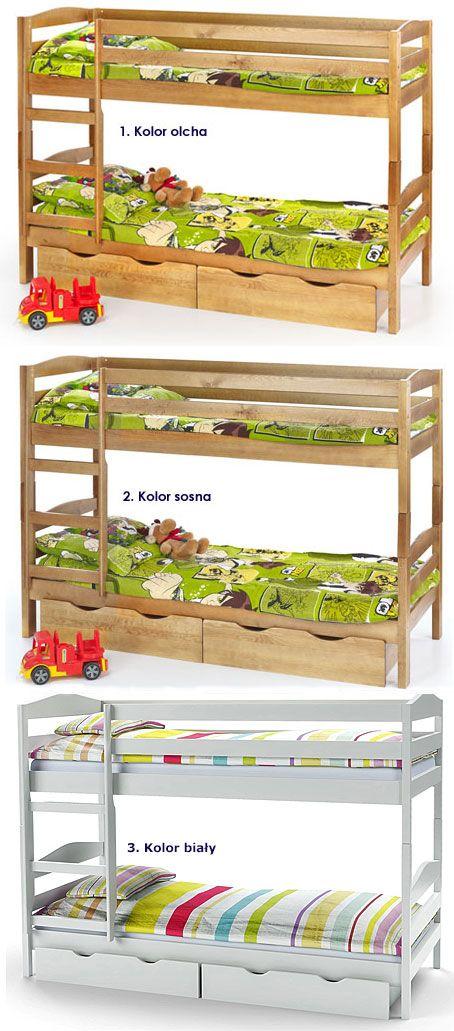 Piętrowe łóżko z szufladami na pościel i materacami Dixi