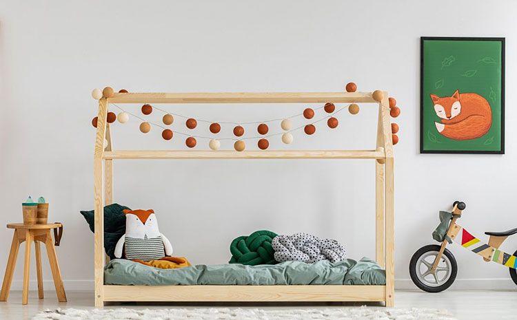 Dziecięce drewniane łóżko domek Miles