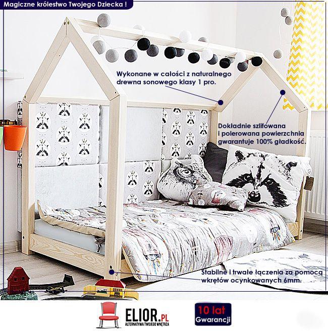 Drewniane łóżko dziecięce domek Miles