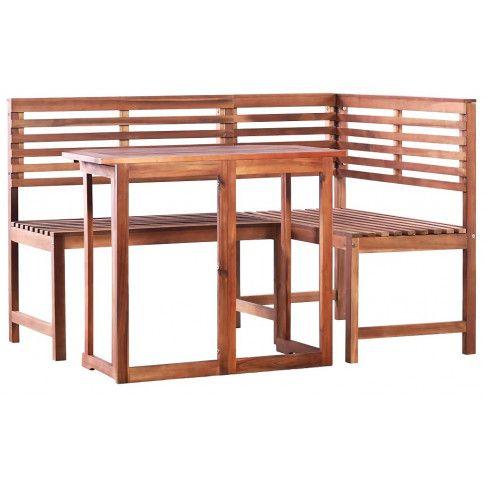 Zdjęcie produktu Zestaw drewnianych mebli ogrodowych Alyssa - brązowy.