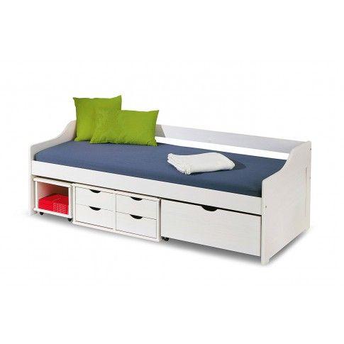 Zdjęcie produktu Jednoosobowe łóżko z szufladami Nixer - białe.