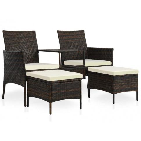 Brązowa sofa ogrodowa z polirattanu ze stolikiem i miękkimi podnóżkami Terry