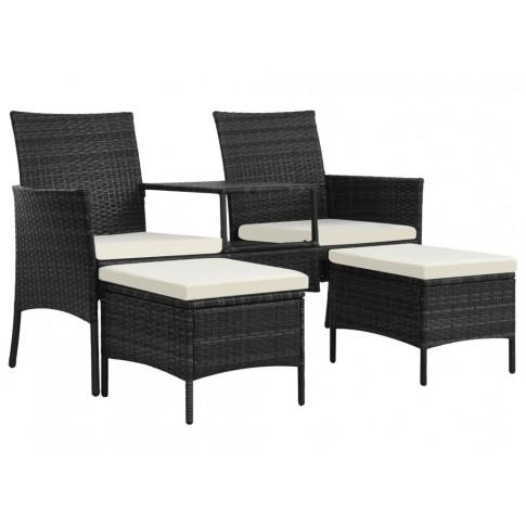 Czarna sofa ogrodowa z polirattanu ze stolikiem Terry