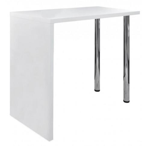 Biały stolik na 2 stalowych nogach Eris 3X