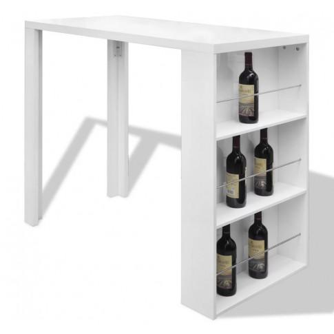 Biały stolik barowy z funkcjonalną szafką Vidden