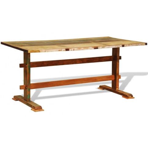 Drewniany stół vintage Rusell o przenikających się kolorach