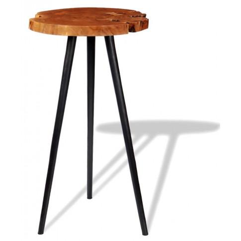 Okrągły stolik brązowe plastry drewna Matel 2X
