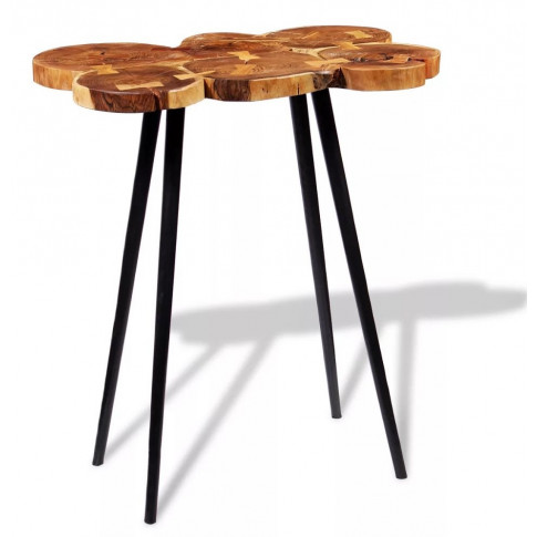 Okrągły stolik na czarnych nóżkach plastry drewna Matel 3X