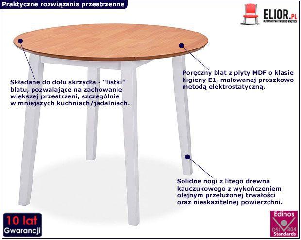 Stół nowoczesny Toto biało-brązowy