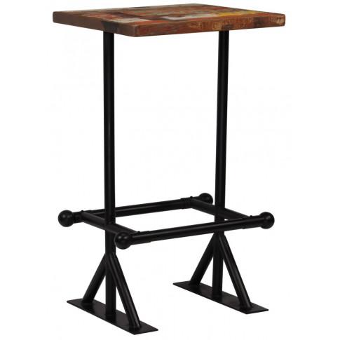 Kolorowy, drewniany stolik barowy Sidden 2X