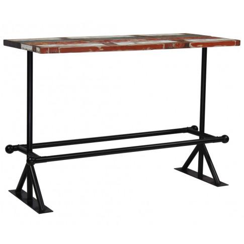 Kolorowy, drewniany stolik barowy Sidden 4X