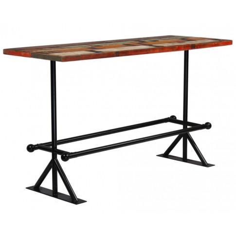 Kolorowy, drewniany stolik barowy Sidden 5X