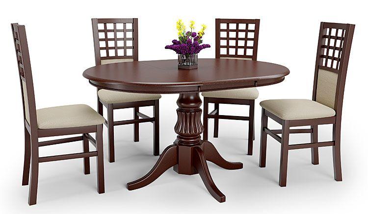 Rozkładany stół okrągły ciemny orzech Pixer