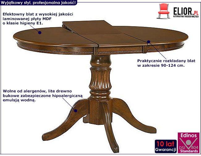 Okrągły stół rozkładany orzech Pixer