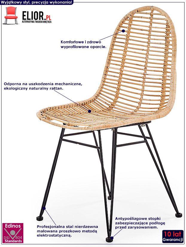 Rattanowe krzesło kuchenne Intor