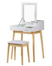 Skandynawska toaletka Coletta z lustrem - biała