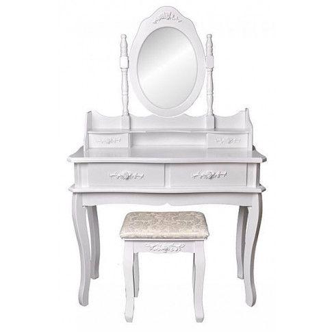 Klasyczna toaletka z lustrem i taboretem Melinda 2X