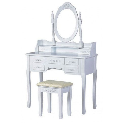 Zdjęcie produktu Romantyczna toaletka Melinda 3X - biała.