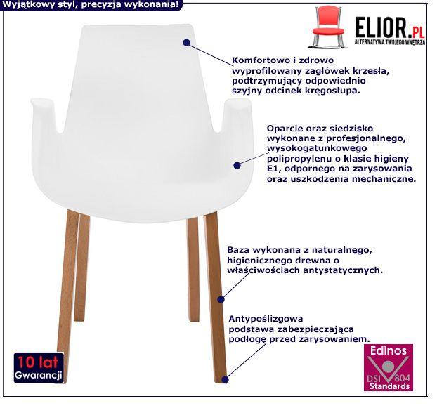 Modne krzesło Nuffi - białe