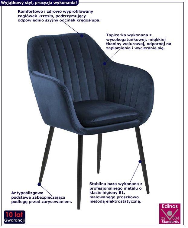 Niebieski fotel Erino 3X - pikowany