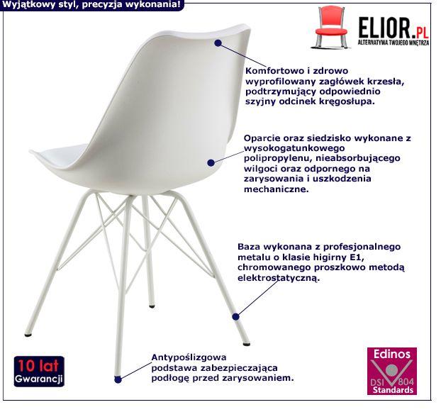 Designerskie krzesło Lindi - białe