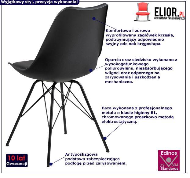 Modne krzesło Lindi - czarne