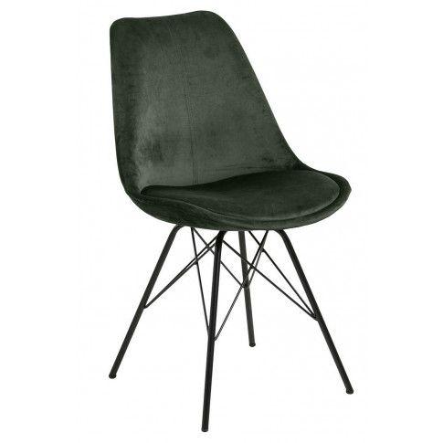 Zdjęcie produktu Tapicerowane krzesło welurowe Lindi 2X - zielone.