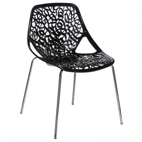 Zdjęcie produktu Czarne krzesło ażurowe - Lenka.