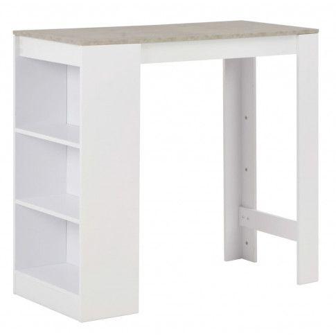 Zdjęcie produktu Stolik barowy z półkami Gabriel – biały i betonowy.