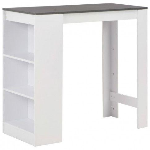 Zdjęcie produktu Stolik barowy z półkami Gabriel – biało-szary.