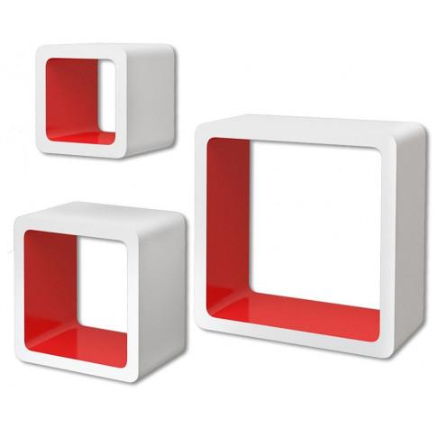 Zestaw biało-czerwonych półek ściennych Luca 2X